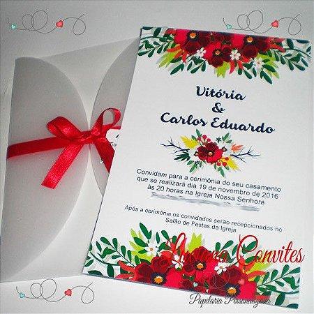 Convite de Casamento Floral Translúcido