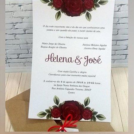 Convite de Casamento Rústico com Rosas Vermelhas