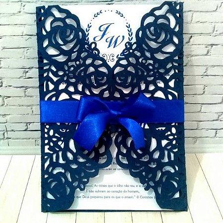Convite de Casamento Corte a Laser Azul Marinho