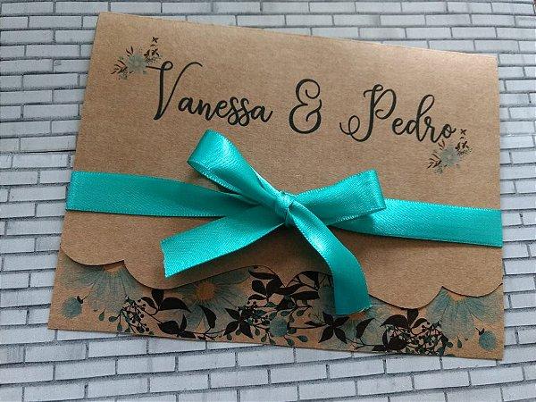 Convite de Casamento Rústico Vanessa e Pedro