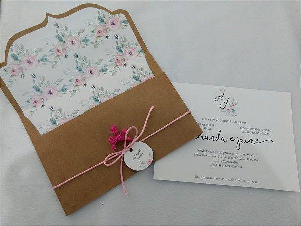 Convite de Casamento Rústico Floral Amanda e Jaime