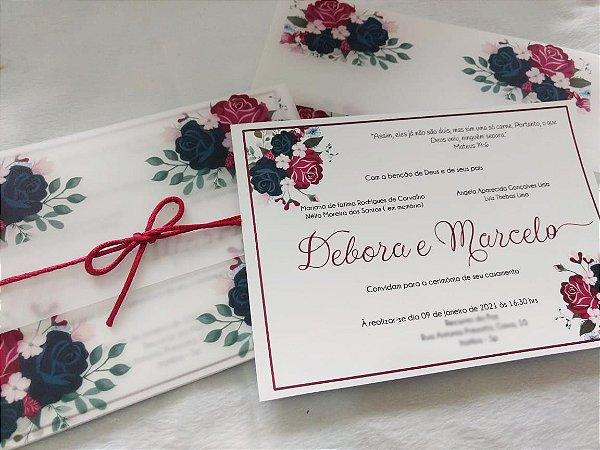 Convite de Casamento Floral Marsala Debora e Marcelo