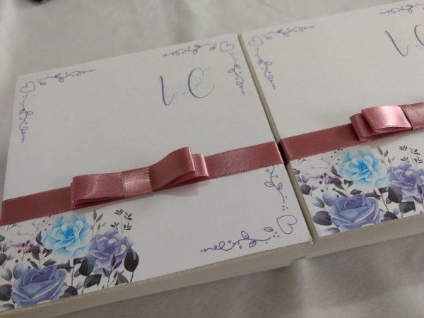 Convite Padrinhos - Caixa MDF 15x15x05 cm + Manual dos Padrinhos