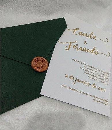 Convite De Casamento Moderno Dourado E Verde