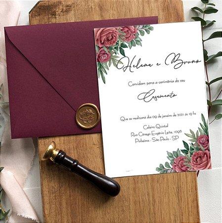 Convite de Casamento Floral Helena e Bruno