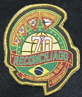 Trunfo ou patch comemorativo 70 anos dos desbravadores no mundo