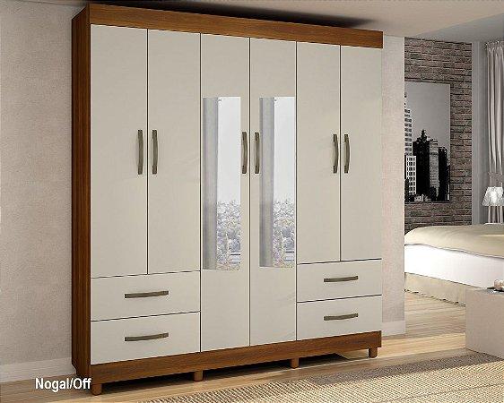 Guarda Roupa 6 Portas Com Espelho Verona Nogal/Off - Sallêto