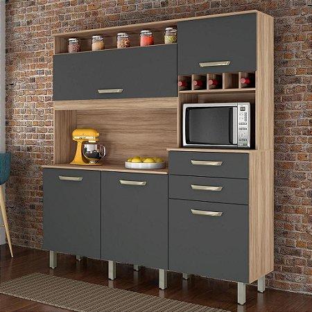 Armário de Cozinha 5 Portas 2 Gavetas Smart Cedro/Grafite - Nesher