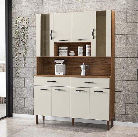 Armário de Cozinha 8 Portas 2 Gavetas Golden Nogueira/Off White - Kits Paraná