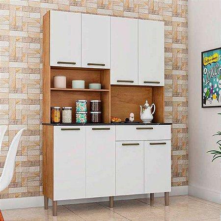 Armário de Cozinha 8 Portas 1 Gaveta Tannat Gold Castanho/Branco - Ronipa