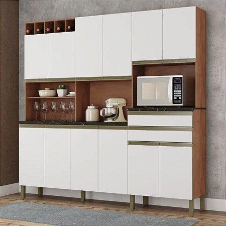 Armário de Cozinha 12 Portas 2 Gavetas Malbec Castanho/Branco - Ronipa
