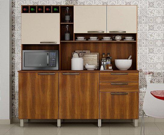 Armário de Cozinha 6 Portas 2 Gavetas Topazio Nogal/Off - Sallêto