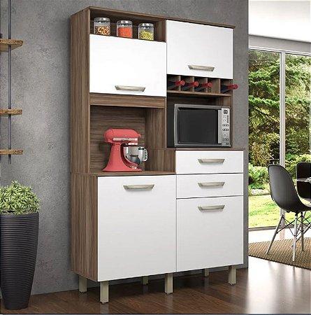 Armário de Cozinha 4 Portas 2 Gavetas JR Nogal/Branco - Nesher