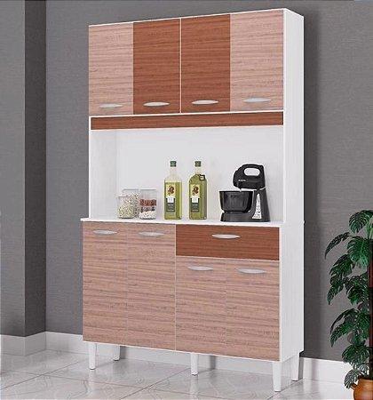 Armário de Cozinha 8 Portas 1 Gaveta Cassia Amêndoa/Capuccino - Poquema