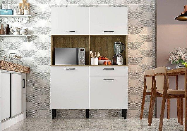 Armário de Cozinha 4 Portas 1 Gaveta KIT-120 4PT1GV Castanho/Branco - Itatiaia