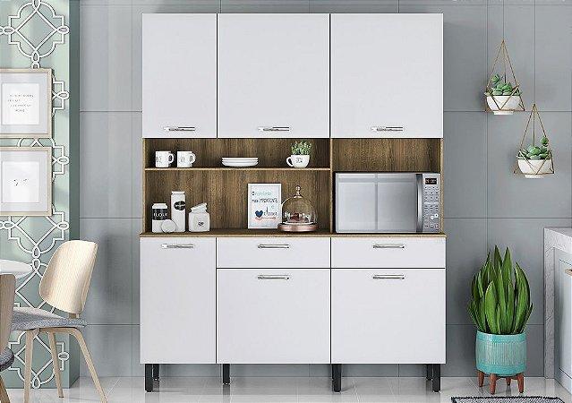 Armário de Cozinha 6 Portas 2 Gavetas KIT-160 6PT2GV Castanho/Branco - Itatiaia