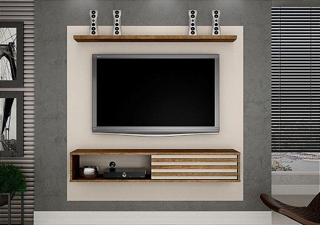 Painel TV até 50 Polegadas Arizona Off White/Ipê - Valdemóveis