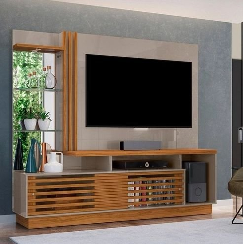 Painel Home TV até 60 Polegadas Frizz Plus Fendi/Naturale - Madetec