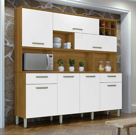 Armário de Cozinha 7 Portas 2 Gavetas Master Freijo/Branco - Nesher