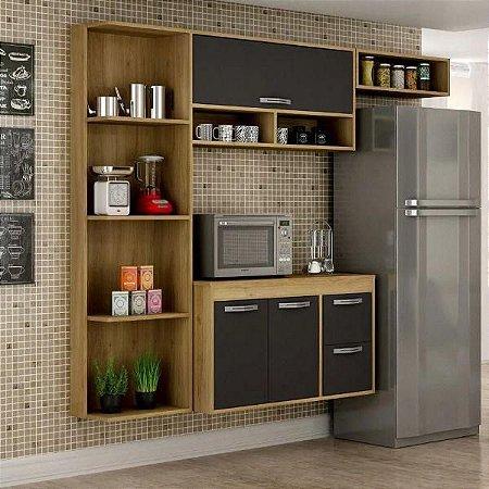 Cozinha 3 Portas 2 Gavetas com Balcão Esmeralda Carvalho/Grafite - Sallêto