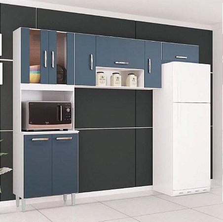 Cozinha 9 Portas Com Nicho Lavínia Branco/Cinza - Poquema