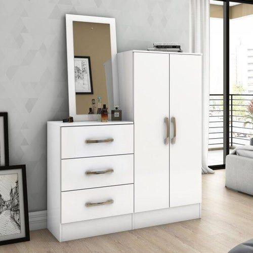 Cômoda Multiuso Com Espelho 3 Gavetas 2 Portas B700 Branco - Briz