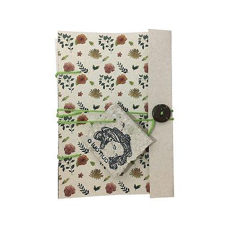 Caderninho Artesanal - Estampa Aquarela - Linha Flora - A6