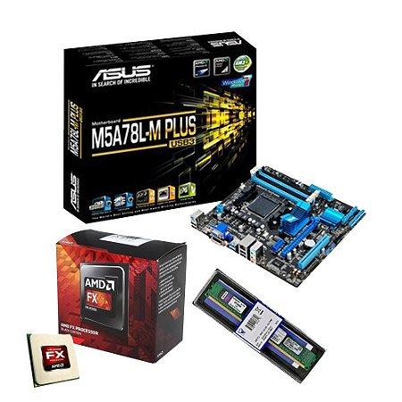 KIT PLACA MÃE ASUS M5A78L-M PLUS + AMD FX 8320 E + MEMÓRIA KINGSTON 4GB DDR3P