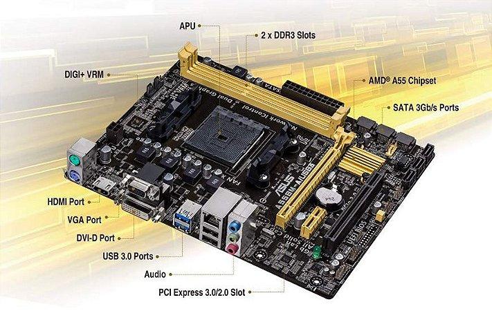 PLACA MÃE ASUS A55BM-A HDMI/DVI  / USB 3.0