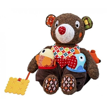 Urso de atividades em tecido