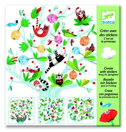 Criar com adesivos: Primavera