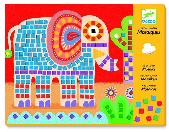 Colagem com mosaico - Elefante e Caracol