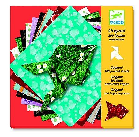 Origami - Folhas decoradas coloridas