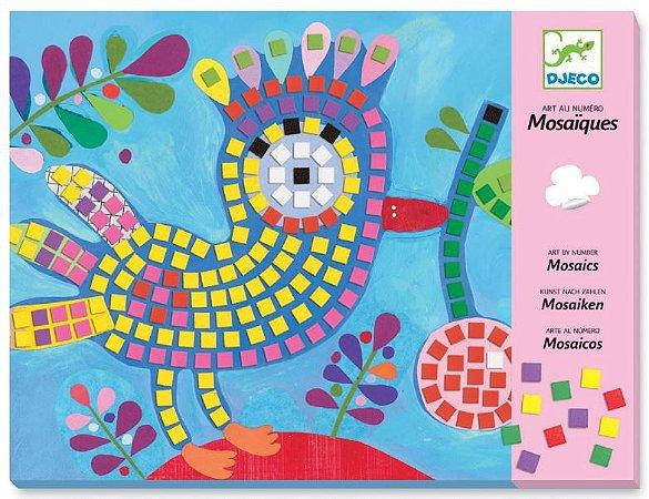 Colagem com mosaico - Pássaro e Joaninhas