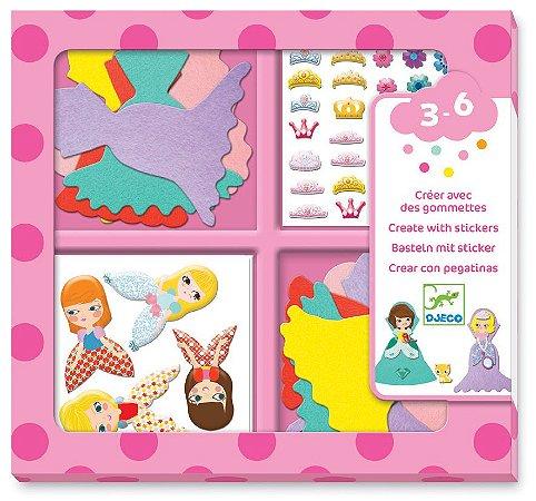 Criar com adesivos - Eu amo princesas