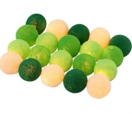 Luz bolinha cotton verde e branca