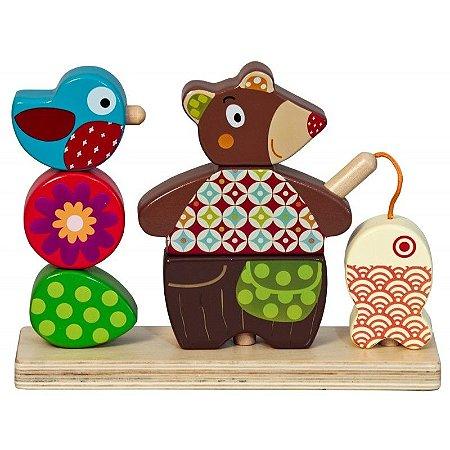 Urso em madeira para encaixar