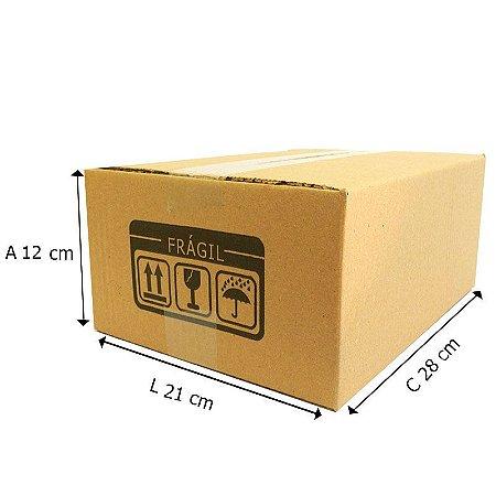 25 Caixas Papelão D º8 - 28 X 21 X 12 cm