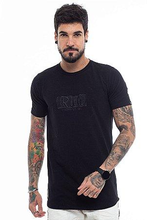 Camiseta Long Bordada Quadrado Preto
