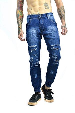 Calça Jeans Destroyed Azul com Punho