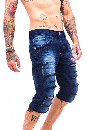 Bermuda Destroyed Rasgada Jeans Azul