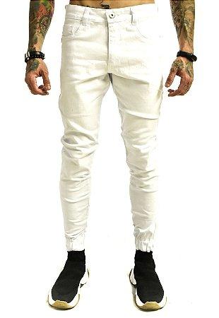 Calça Punho Básica Sarja Branca