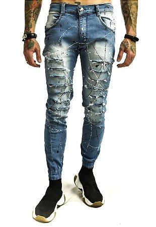Calça Jeans Destroyed Rasgada Tinta Punho Azul