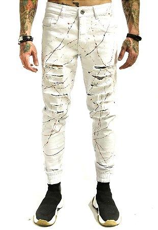 Calça Jeans Destroyed Rasgada Tinta Punho Branca