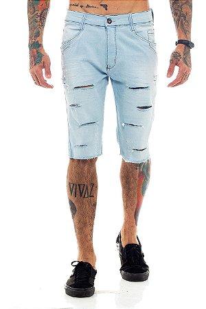 Bermuda Jeans Destroyed Rasgada Azul Claro