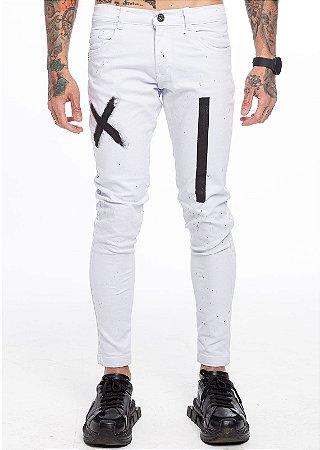 Calça Sarja Básica com X Branca