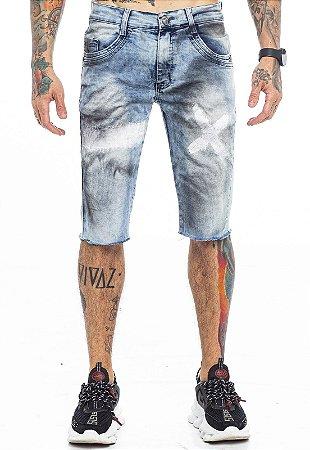 Bermuda Jeans Detalhes Com Manchas Azul