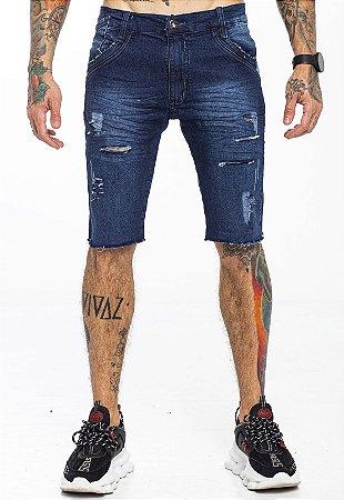 Bermuda Jeans Rasgada Azul Escura