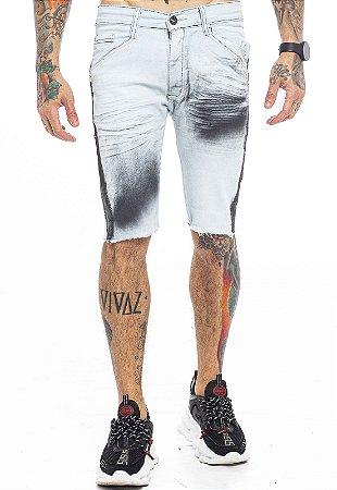 Bermuda Jeans Clara com Manchas Preta