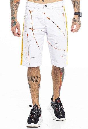 Bermuda Sarja Branca com Tinta e Faixa